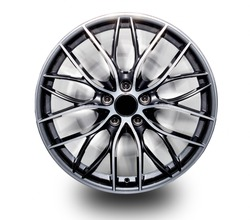 Alloy wheels separated from the rear Blur isolated from the white background.