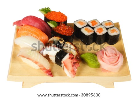 Allsorts from seafood in the Japanese style