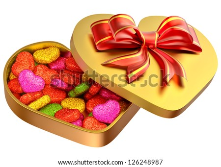 Allsorts sugared candy in the form of heart in a golden box with a red bow as a sweet gift for perfect Valentine's Day.