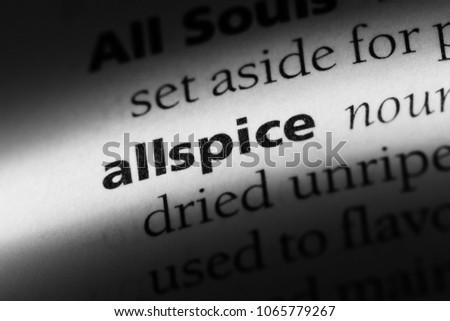 allspice word in a dictionary. allspice concept. #1065779267