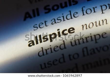 allspice word in a dictionary. allspice concept. #1065962897