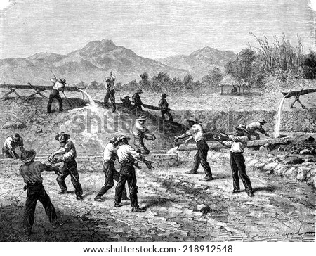 Alluvial gold mines vintage engraved illustration Le Tour du Monde Travel Journal 1872