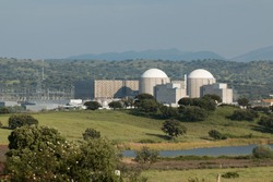 Almaraz nuclear power plant in the center of Spain, surrounded by oak hardwood
