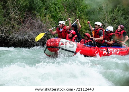 "ALMATY, KAZAKHSTAN - JUNE 27: ""Activ"" team in action at Rafting competition on Chilik river. June 27, 2011 in Almaty, Kazakhstan."