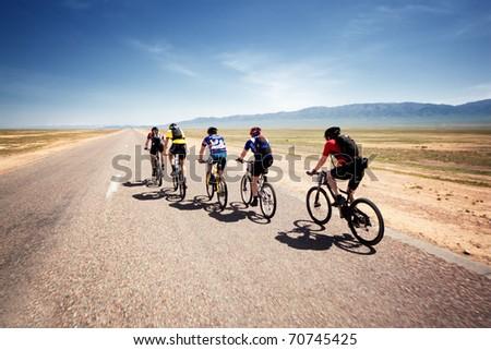 """ALMATY, KAZAKHSTAN - MAY 1: Adventure mountain bike cross-country marathon in desert """"Jeyran Trophy 09"""" in Almaty, Kazakhstan May 1, 2009."""