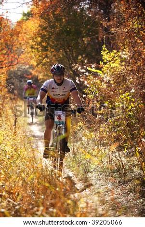 ALMATY, KAZAKHSTAN - OCTOBER 18: Igor Baranov in action at cross-country mountain bike 'Apple race' October 18, 2009 in Almaty, Kazakhstan.