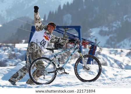Almaty, Kazakstan - February 16: Red Bull Snow BikeCross, February 16, 2008 in Almaty, Kazakstan