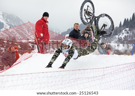 Almaty, Kazakstan - February 15: Red Bull Snow BikeCross, February 15, 2009 in Almaty, Kazakstan