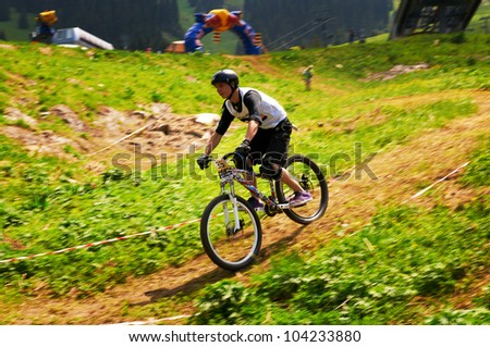 ALMATY, KAZAKSTAN - MAY 26: Unknown rider in action at Freestyle Mountain Bike Session in Almaty, Kazakstan MAY 26, 2012.