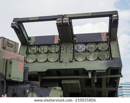 ALMERE, NETHERLANDS - 23 APRIL 2014: A Dutch military multiple launch rocket system on display during the National Army Day in Almere can be inspected by the general public at close range