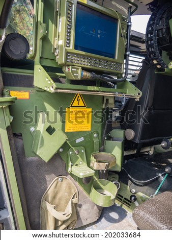ALMERE, NETHERLANDS - 12 APRIL 2014: Computer inside a Dutch military vehicle on display during the first National Security Day held in the city of Almere