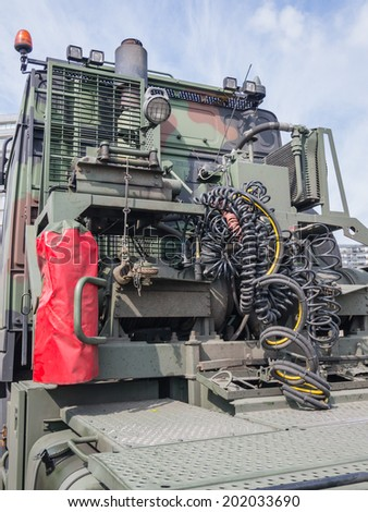 ALMERE, NETHERLANDS - 12 APRIL 2014: Front of a large military truck on display during the first National Security Day held in the city of Almere