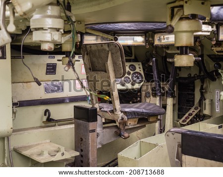 ALMERE, NETHERLANDS - 23 APRIL 2014: Inside a Dutch military armored fighting vehicle on display during the National Army Day in Almere