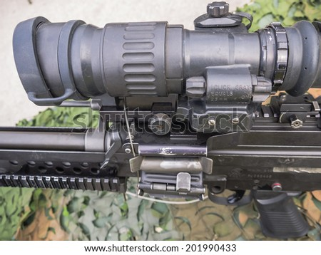ALMERE, NETHERLANDS - 12 APRIL 2014: Machine gun as used by the Dutch military on display during the first National Security Day held in the city of Almere