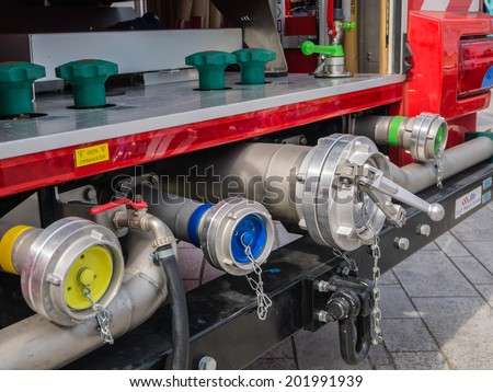 ALMERE, NETHERLANDS - 12 APRIL 2014: Valves of a modern Dutch fire engine on display during the first National Security Day held in the city of Almere