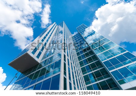 ALMERE, NETHERLANDS - JULY 12: Modern architecture on july 12, 2012 in Almere, Netherlands. It is the youngest and fastest growing city in the country, founded around 1975. - stock photo