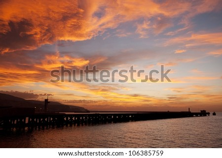 Almeria Beach at sunset, Andalusia, Spain - stock photo