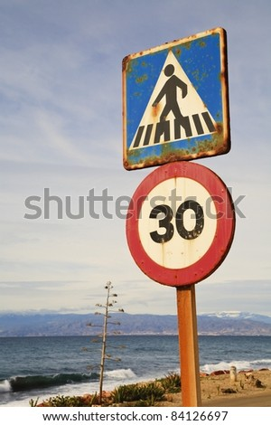 Almeria Province, Spain; Road Signs Overlooking The Sea