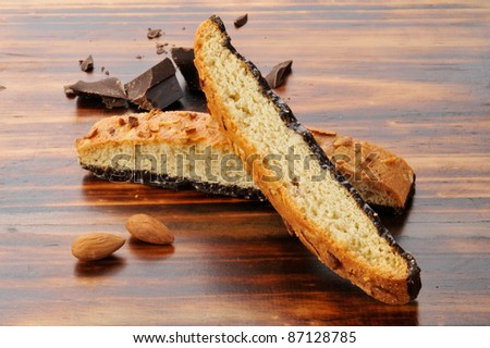 Almond biscotti with chocolate and nuts