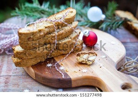 Almond Biscotti with Glass of Wine for Christmas. Also available in vertical format.