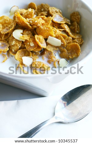 almond bowl breakfast cereal close cow creamy crunchy eat eating grain healthy milk morning muslix oats sugar white