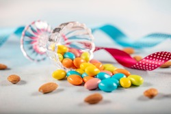 Almond candy; Sugared Almonds on white background.Eid al-Fitr (Feast of Ramadan) concept.