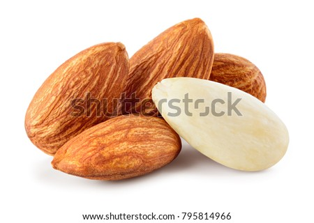 Almond isolated. Almonds on white background. Full depth of field. #795814966