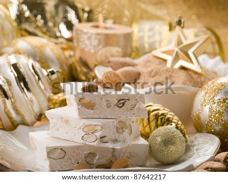 almond nougat aver christmas table