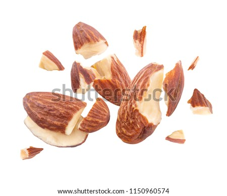 almond nut Blast side view on white isolated  #1150960574