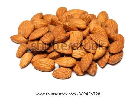 almond nut fruit organic healthy vegan white background vegetarian oil milk snack vegetable  #369456728