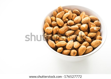 almond on white isolated