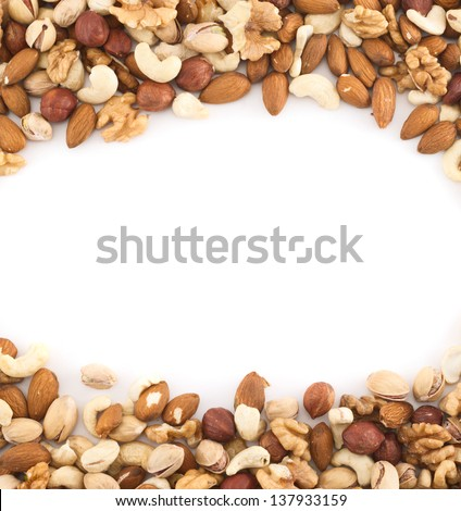 Almond, pistachio, peanut, walnut, hazelnut mix copyspace frame background