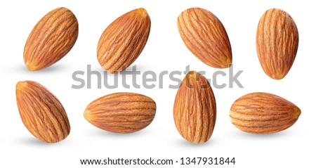 almond raw piece collection set.almond full macro shoot nuts healthy food ingredient on white isolated .Clipping path #1347931844