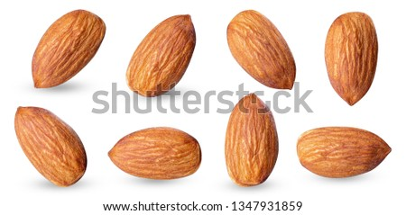 almond raw piece collection set.almond full macro shoot nuts healthy food ingredient on white isolated .Clipping path #1347931859
