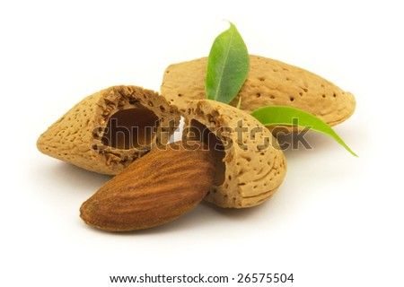 Almond with leaves on a white background