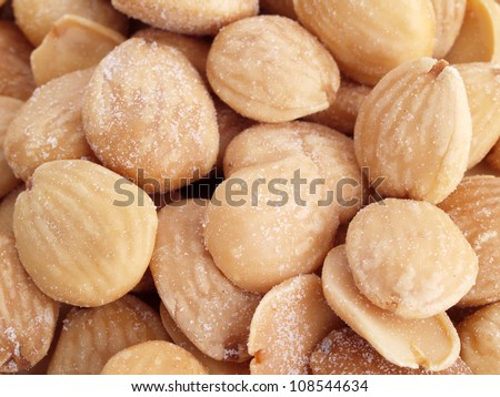 Almonds. Close up of fried, peeled and salted  almonds.