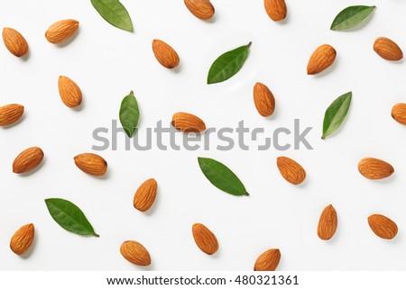 Almonds flat lay pattern #480321361