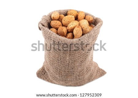 almonds in a bag on a white background