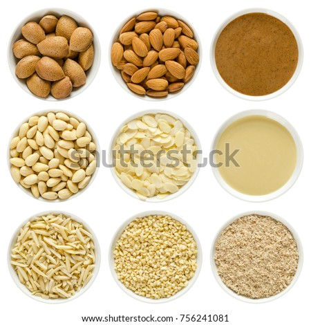 Almonds in white bowls. Whole nuts with shells, shelled, blanched, chopped, slivered, sliced, ground, brown and white almond butter. Prunus dulcis. Macro photo close up from above on white background. #756241081