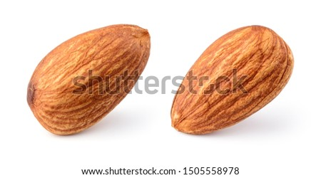 Almonds isolated. Almond on white background. Full depth of field.