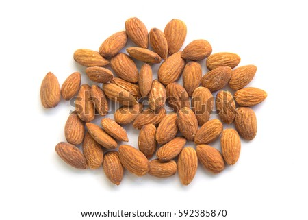 Almonds isolated on white background. #592385870