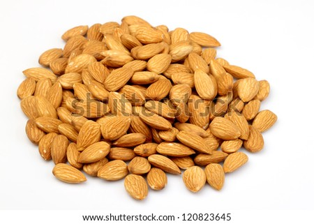 almonds nuts, isolated on white