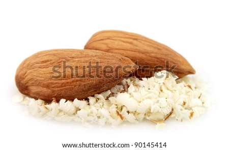 Almonds nuts with grated almonds close up
