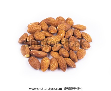 Almons nuts on white background #595599494