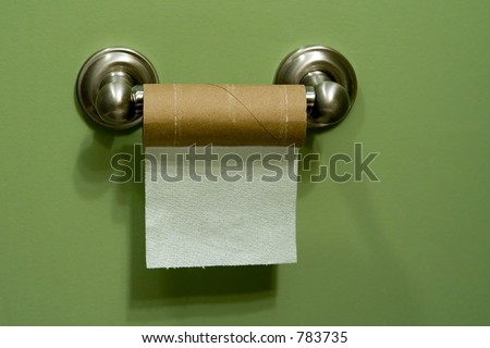 almost empty toilet paper roll