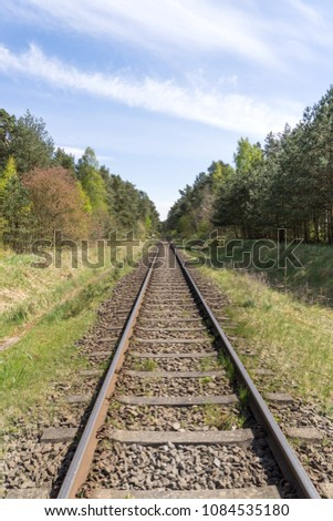 Almost endless straight rail track through the forest #1084535180