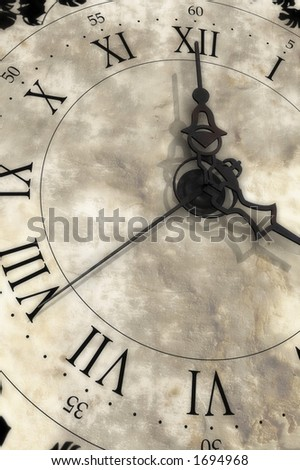 Almost four o'clock. Old clock.