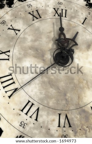 Almost one o'clock. Old clock.