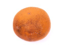 Almost rotten orange isolated on white background
