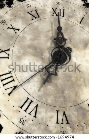Almost seven o'clock. Old clock.
